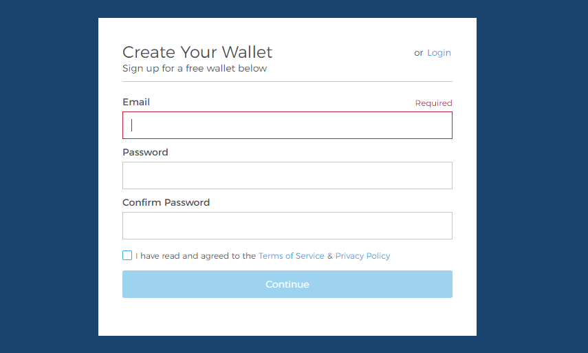 Регистрация биткоин-кошелька blockchain: шаг 2