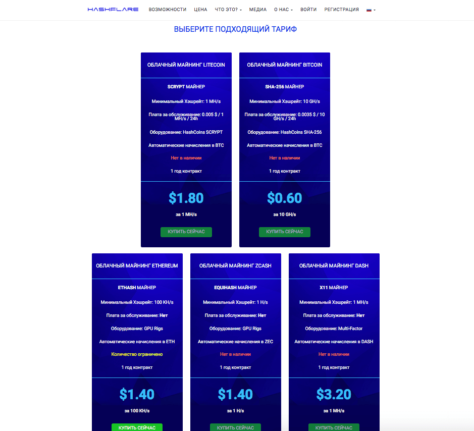 Тарифные планы HashFlare на разных алгоритмах
