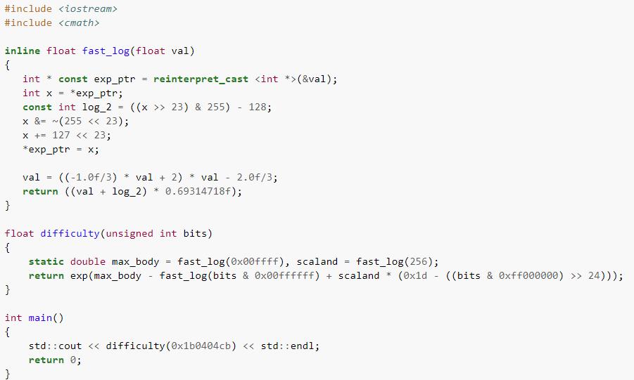 Расчет сложности Bitcoin в виде программного кода