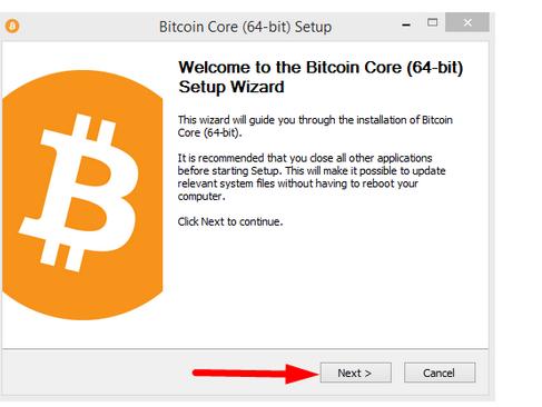 Установка bitcoin core: шаг 2