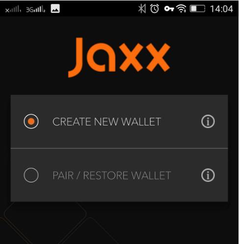 Установка мобильного кошелька Jaxx: шаг 2
