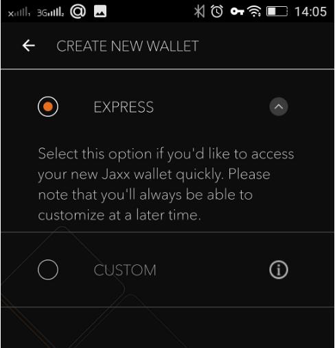 Установка мобильного кошелька Jaxx: шаг 3