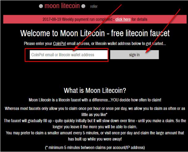 Регистрация на кране Moon Litecoin: шаг 1