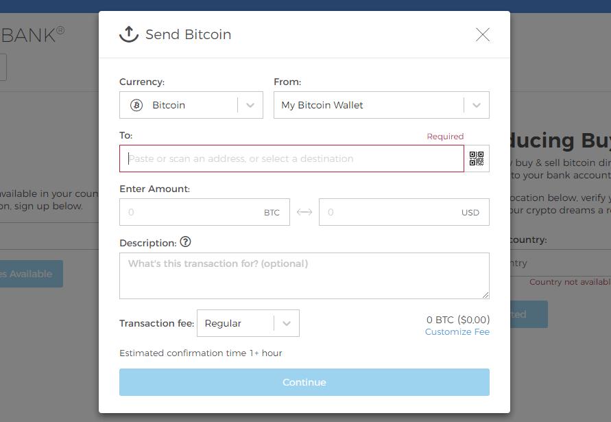Отправка денег в Blockchain Wallet